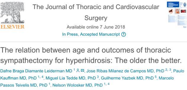 Pacientes idosos apresentam melhora na qualidade de vida após simpatectomia similar à pacientes mais jovens submetidos ao mesmo tratamento para hiperidrose